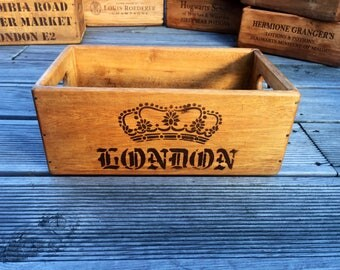 Vintage London Wooden Handcrafted Rustic Storage Box