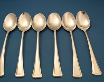 """6 Soup Spoons Oneida Stainless MAESTRO ST. LEGER Usa 6 7/8"""""""