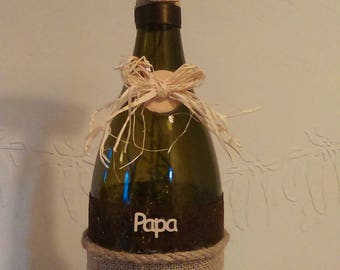 """Dad"" bottle lamp."
