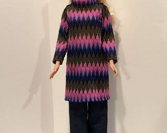 "Knit multi colored top and blue jeans for the 28"" Barbie doll"