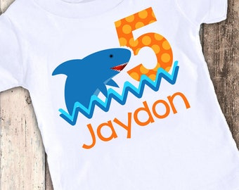 Shark custom designed birthday t shirt tshirt personalized