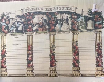 """Currier and Ives Print the """"Family Register"""""""
