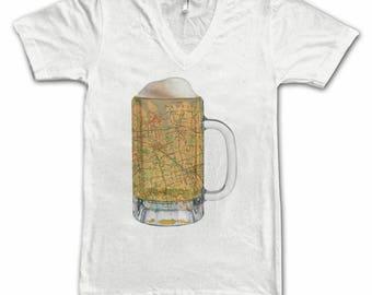 Ladies  Queens NY Map Beer Mug Tee, Vintage City Maps Beer Mug Tees, Beer T-Shirt, Beer Thinkers, Beer Lovers, Cities, Beer Lover Tees