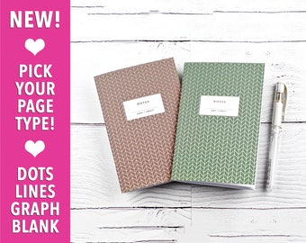 Notebooks, Brown and Moss, Herringbone, Travelers Notebook, Personal Size, Pocket Notebook, Gift Idea, Small Notebook, Set of 2 Notebooks