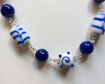 Blue and white lamp work bead necklace