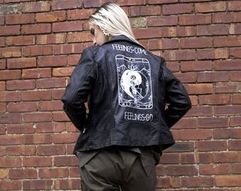 Hand Painted Tarot Card Vegan Faux Leather Jacket