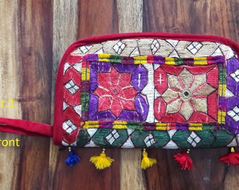 Very colourful Pakistani Sindhi make up pouch, toiletry bag, travel wallet, cosmetic bag, travel bag with tassles and zipper