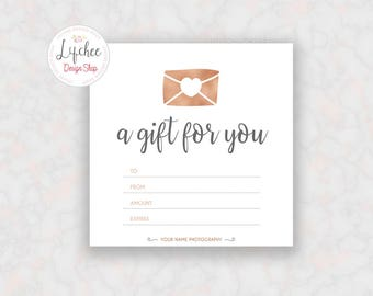 Printable rose gold gift certificate template editable printable rose gold silver heart foil gift certificate template 5x5 editable photography studio gift card yadclub Gallery