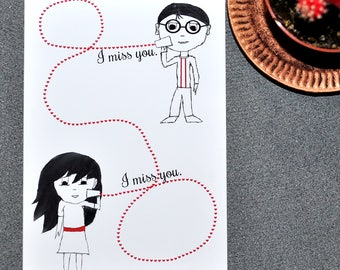 Long-distance relationship card, I miss you card, String cup telephone, cheesy romantic card, sentimental greeting card, Valentine's Day