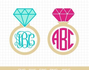 Diamond Ring Svg, Diamond Wedding Ring Svg, Wedding Ring Svg, Diamond Monogram Frames Svg, Cut files For Cricut & Silhouette