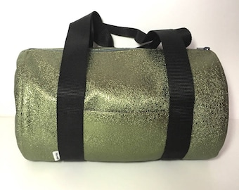 Brilliant green bronze leatherette double duffel bag cotton printed fuschia flower