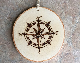 Compass Rose Ornament, Woodburned Maine Ornament, Woodburned Compass Rose Ornament, Made in Maine Ornament, Birch Ornament, Rustic Ornament