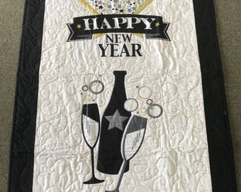 Happy New Year Wall Hanging Quilt Champagne Celebrate New Year Black White Quilt