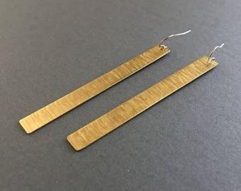 Brass Rectangle Dangle Earrings