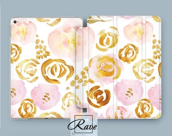 iPad case gold Gold flowers Gold iPad air 2 case Gold painting Rose iPad case Gold gift ideas Custom ipad 4 case iPad 5th gen case iPad air