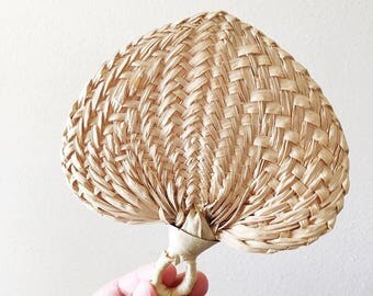 Small Vintage Woven Rattan Palm Fan