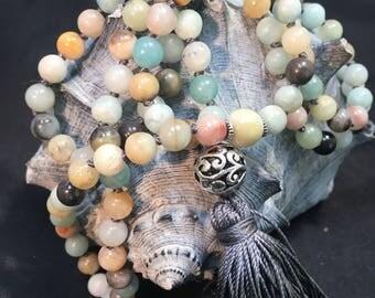 Amazonite 6mm Round Crystal Bead Hand Knotted Silk Mala / Silk Tassel / Yoga Necklace / 108 Prayer Beads / I Am Aware Mantra / Blue /Mint