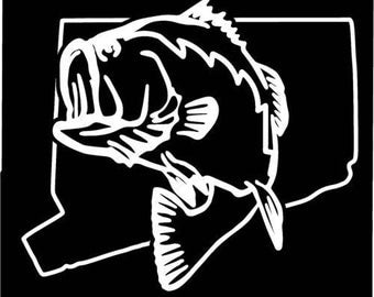 Connecticut Largemouth Bass Fishing state outline window sticker decal