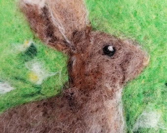 Baby Bunny Needle Felted Wool Painting - Nursery Room - Baby Shower Gift