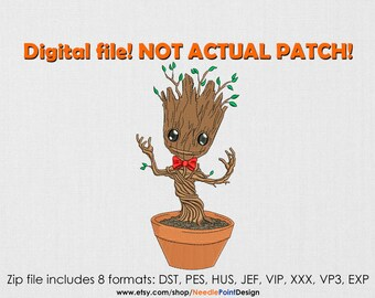 Baby Groot machine embroidery design. Guardians of the Galaxy. Guardians embroidery. Marvel Superhero. Embroidery file