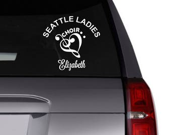 Choir vinyl decal/car decal/Personalized decal/choir name/music/chorus/choir name/treble clef/bass clef/personalize