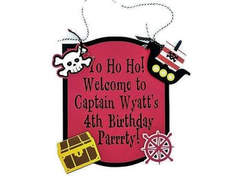 Pirate Welcome Sign, Birthday Welcome, Pirate Birthday, Boy Birthday, Girl Birthday, Pirate Decorations, Pirate Party, Birthday Door Sign