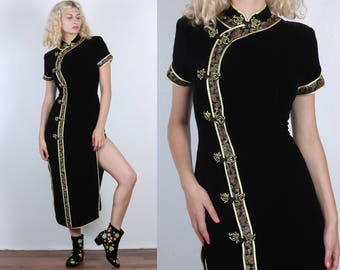 Velvet Cheongsam Dress // Vintage 80s 90s Formal Maxi Dress Black Gold Chinese Qipao - Large