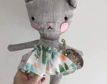 Doll cat stuffed animal toy baby and child