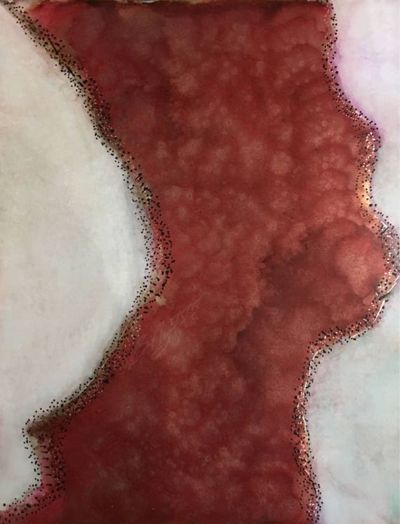 "Original Alcohol Ink (Mixed Media) Abstract Painting: ""In The Same Vein"" (11"" X 14"")"