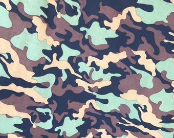 """Camouflage Print On Stretch Spandex Fabric Sold By The Yard 60"""" Wide"""
