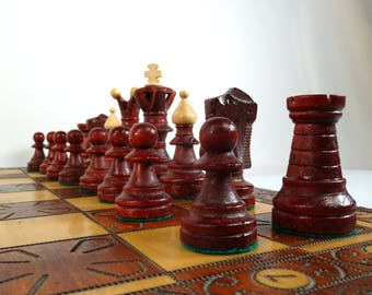 Vintage Chess Set / Vintage Wooden Chess / Carved Chess / Large Chess Set / Big Chess / Vintage Game / Office Decor