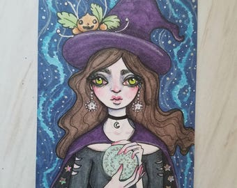 Fortune Teller Witch Drawing Artist Trading Card Print