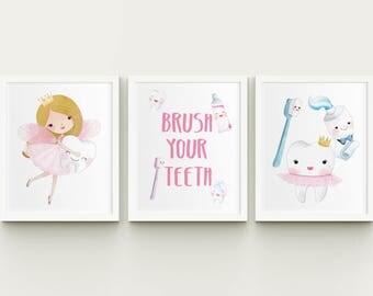 Brush your teeth printable girl nursery or bathroom art set, tooth fairy nursery wall art, brush your teeth girl bathroom decor download