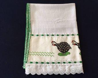 Kitchen Towel with a Turkey Design - Green Trim
