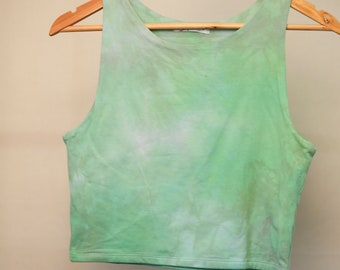 Ladies Size Lg/14 Crop Top - Beach - Festival - Ready To Ship - Ice Tie Dyed - 100% Cotton - FREE SHIPPING within AUS