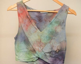 25% OFF ENTIRE SHOP Ladies Size L/14 Crop Top - V Neck Front - Beach - Festival - Ready To Ship - Tie Dyed - 100 Percent Cotton - Free Shipp
