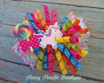 lollipop hair clip, Candy Hair clip, Lollipop hair bow, Candy hair bow, Candyland birthday party, Candyland hair clip, Unicorn hair bow