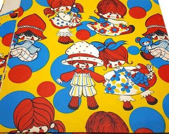 Rag Doll Vintage Gift Wrap 1 Full Sheet + 2 Scrap 3 Pieces Total 50s/60s Paper Kids Wrapping Paper Birthday Craft Supplies Scrapbook Pages
