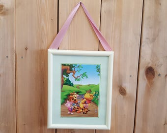 Winnie the Pooh Piglet and Tigger Print in Plastic Frame with Glass Insert Vintage 90s Nursery Decor Collector Baby Shower Gift Art Image