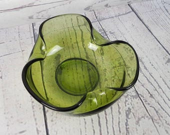 Vintage Green Salad Bowl Trinket Candy Dish Modern Mid Century Curled Edges Glass 70s Vanity Glassware Autumn Fall Wedding Gift