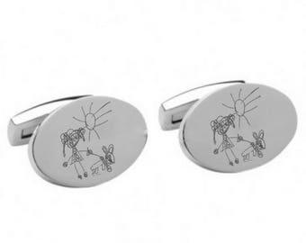 Engraved Oval Cufflinks