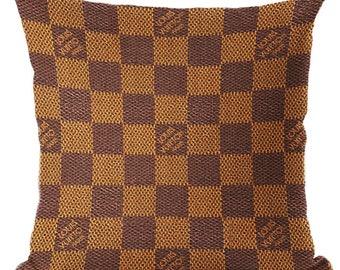 Louis Vuitton Inspired Pillow Cover Decorative Pillow Brown Beige Classic Monogram Fashion Home Decor Couture LV Throw Pillows Damier Ebene