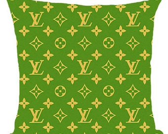 Louis Vuitton Inspired Pillow Cover Decorative Pillow  Beige Pillow Fashion Pillow Home Decor Couture LV Green Yellow Classic Monogram