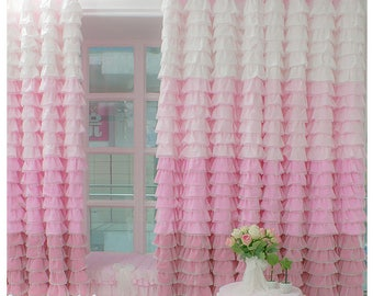 Pink Rose Princess Room Ruffle Curtains Drapery Girly Room Decor Ideas