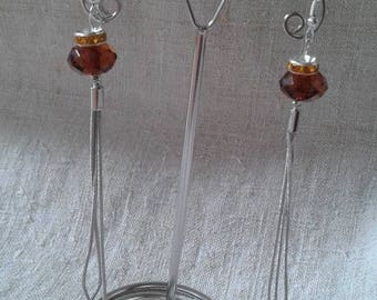 Brown bead and chain earrings