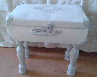 suitcase transformed into storage weathered grey and white cloud