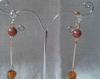 stems and Brown Pearl Earrings
