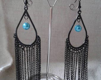"""""""duo of black and turquoise"""" earrings"""