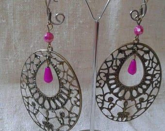 """large print in bronze earrings"""