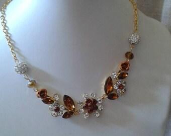 "necklace ""Brown rhinestones and metal flower"""